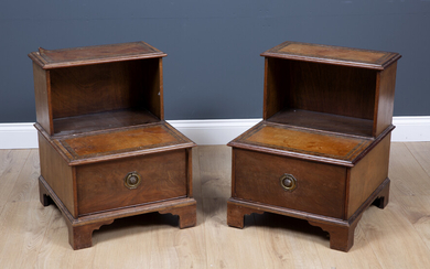 A pair of George III style mahogany step commodes