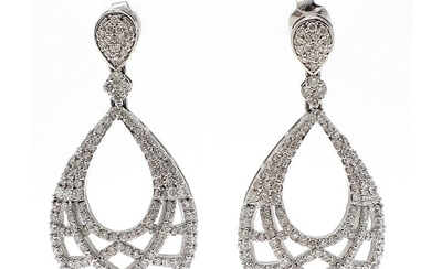NOT SOLD. A pair of diamond ear pendants each set with numerous brilliant-cut diamonds totalling...