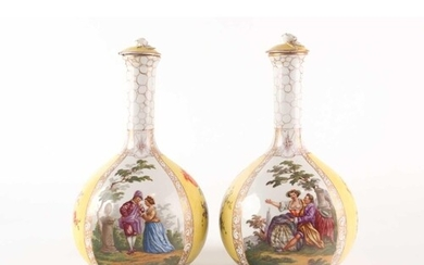 A pair of late 19th century Meissen bottle vases and covers ...