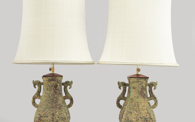 A pair of table lamps of chinese archaic style, late 20th or 21th century.