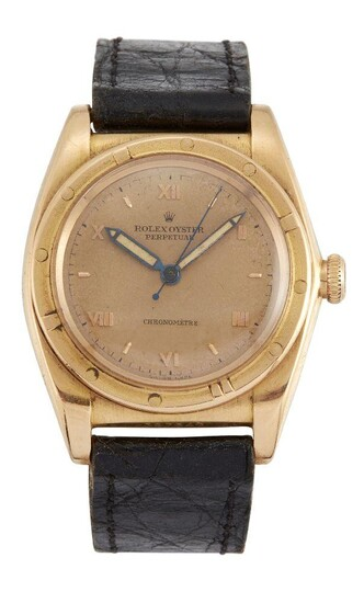 A rose gold 'Oyster Perpetual' 'Bubble back' wristwatch by Rolex Ref. 3372, the gilt dial with applied gilt Roman numerals and baton hour marks, luminous hands, signed Rolex Perpetual Chronometre, to a reeded bezel, the crown stamped Rolex Oyster...