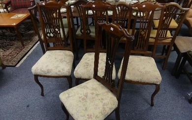 A set of four Edwardian mahogany-framed Parlour Chairs, the ...