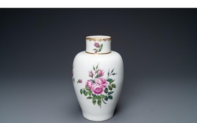 A vase with fine pink roses, A.R. mark for Augustus Rex, Mei...
