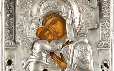 AN ICON SHOWING THE VLADIMIRSKAYA MOTHER OF GOD WITH A...