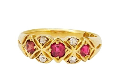ANTIQUE RUBY AND DIAMOND RING, 18-ct gold. Set with 3 rubies...