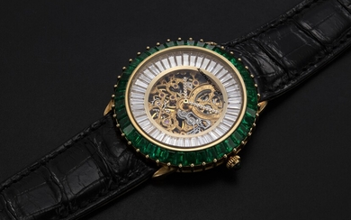 AUDEMARS PIGUET, A GENTS GOLD WRISTWATCH SET WITH EMERALDS, DIAMONDS AND SKELETONISED DIAL, ENGRAVED NO. 1