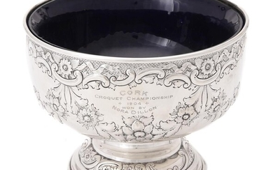 An Edwardian silver pedestal rose bowl by Barker Brothers