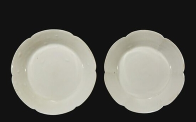 An associated pair of Chinese whiteware dishes