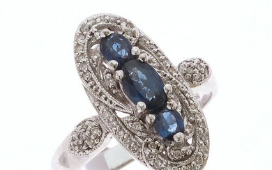 """RING """"Marquise"""" in 750/°° white gold paved with diamonds surrounding..."""