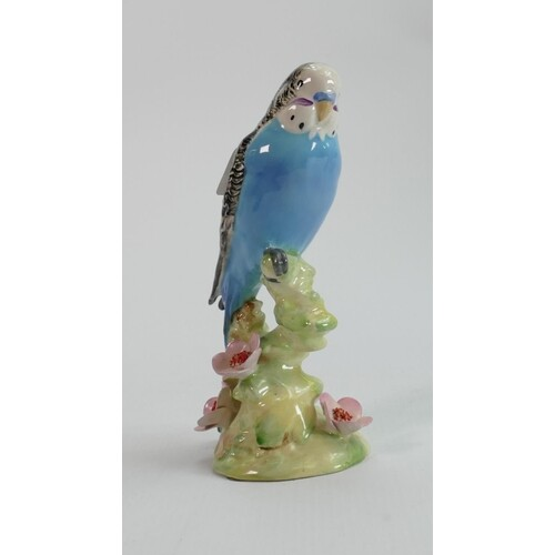 Beswick blue budgie on floral base 1217: (chip to petal edge...