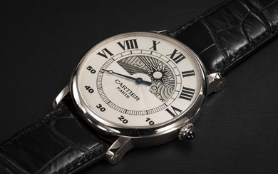 CARTIER, ROTONDE JOUR ET NUIT, A GOLD WRISTWATCH WITH HAND-ENGRAVED NIGHT AND DAY DISPLAY AND RETROGRADE MINUTES HAND