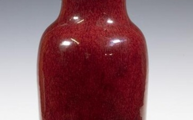 CHINESE QING 19TH C. SANG DE BOEUF ROULEAU VASE