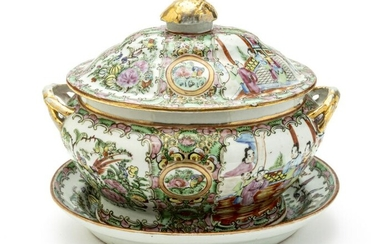 CHINESE ROSE MEDALLION PORCELAIN TUREEN AND TRAY
