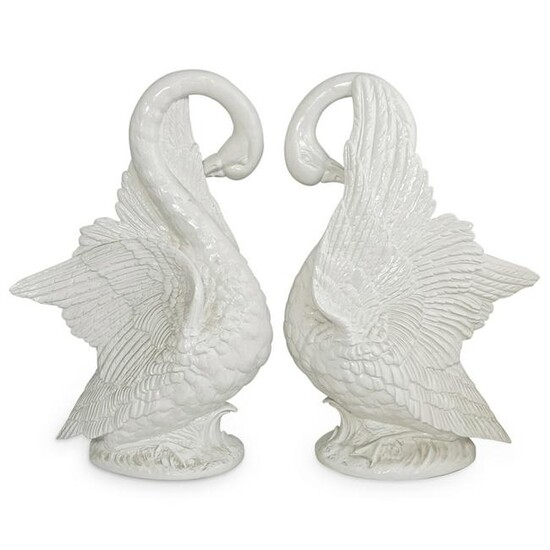 Ceramic White Glazed Geese Statues