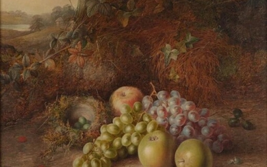 Charles Archer (1855-1931) Still life of grapes, apples and a...