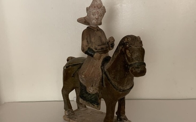 Chinese Sancai Pottery Figural Ride on Horse