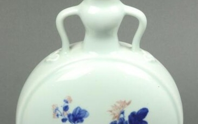 Chinese iron red decorated blue and white moon flask