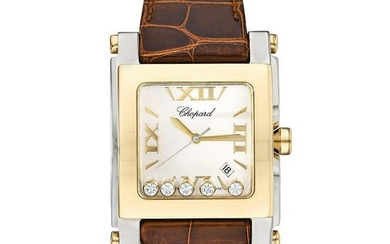 Chopard Happy Sport Square in Steel with Gold Bezel