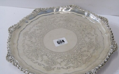 EDWARDIAN SILVER SALVER, attractive floral and fruit engrave...