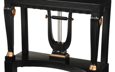 Empire Style Ebonized Gold Painted Pier Table