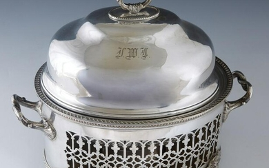 English Silverplated Warming Dish, 19th c., the domed