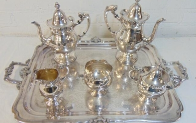 Exceptional silver plate tea set on serving tray, tea &