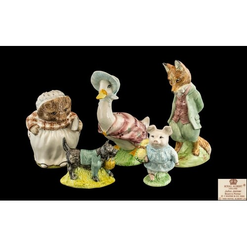 Five Beatrix Potter Figures, to include: Foxy Whiskered Gent...