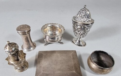 Five silver condiments, various dates and a silver cigarette...
