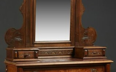 French Henri II Style Carved Walnut Marble Top Dresser