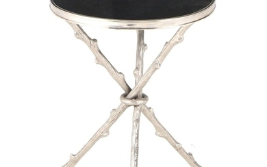 Global Views Cast Nickel and Granite Top Twig-Form Tripod Accent Table