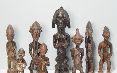 Group (9) African carved wood figures
