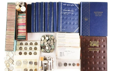 LARGE LOT OF LINCOLN CENTS, JEFFERSON NICKELS, WAR
