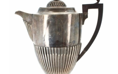 Late Victorian silver half fluted coffee pot, with hardwood ...