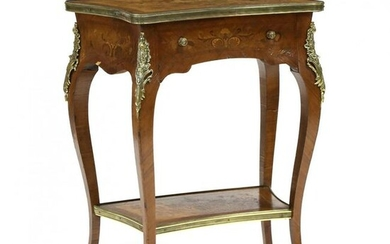 Louis XV Style Marquetry Inlaid Side Table