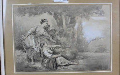 Manner of Francois Boucher (1703-1770) wash drawing of classical figures