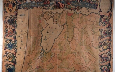 [Map]. [Rijnland]. 'T Hoogheymraedschap van Rhynland. S.l., s.n., [1687-1688]. A copper-engraved map, coloured, in 12 sheets assembled to form a document measuring approximately 210×230cm. (qq. defects including browning, thumbtack holes and small...