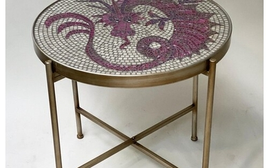 OCCASIONAL TABLE, circular micro and mosaic enamelled dragon...