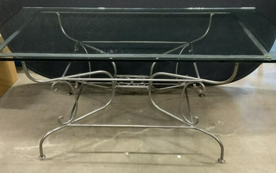 PIERRE DEUX Iron Base Glass Top French Table