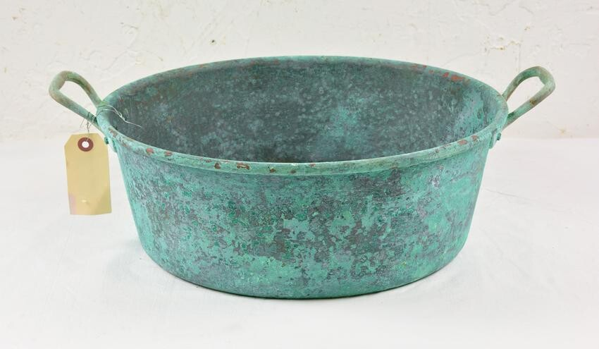 Painted Copper Pan with Handles