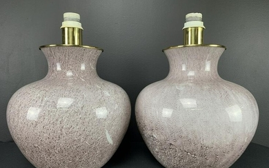 Pair Veart Italy Art Glass Table Lamps