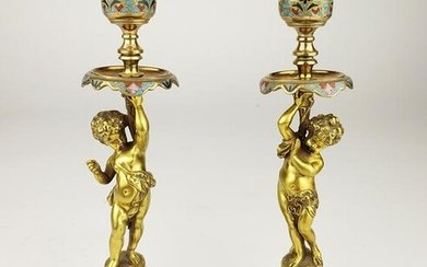 Pair of 19th C. French Champleve Enamel Candlesticks