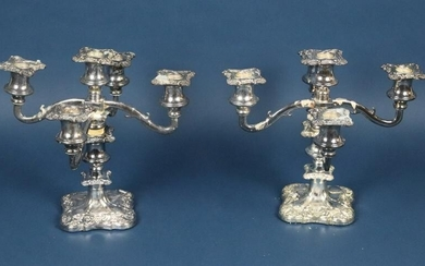 Pair of English Silver Plate Candelabra