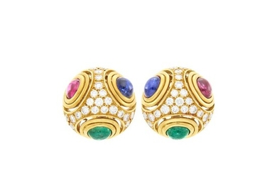 Pair of Gold, Cabochon Emerald, Sapphire and Ruby and Diamond Earrings