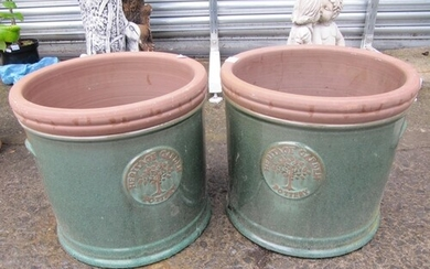 Pair of Green Glazed Large Terracotta Pots.