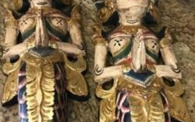 Pair of South East Asian Carved Wood Figures
