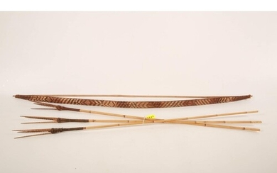 Papua New Guinea Bow and Arrows one bow, with woven desings ...