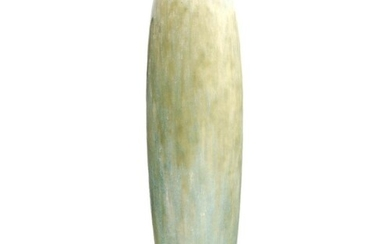 Ruskin Pottery - A tall lamp base of cucumber form decorated...