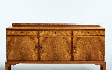 SIDEBOARD, alt. sideboard, mid-20th century, oak and walnut, 3 cabinets with shelves, three drawers, lockable.
