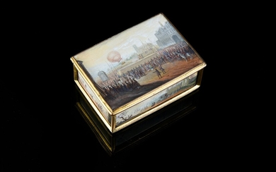 POMPONNE TABATIERE, PARIS, late 18th century frame and 19th century miniatures, painted on paper after a model of 1783-1785. Rectangular in shape, decorated on each side with polychrome scenes, representing landscapes and scenes of animated life...