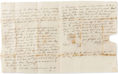 """Scott (Sir Walter) Autograph Letter to Robert Smith in St Paul's Churchyard, 1800, on the recovery of a debt, """"I shall be extremely happy to pay every attention in in my power to the recovery of the sum in Mr. Perry's Bond""""."""